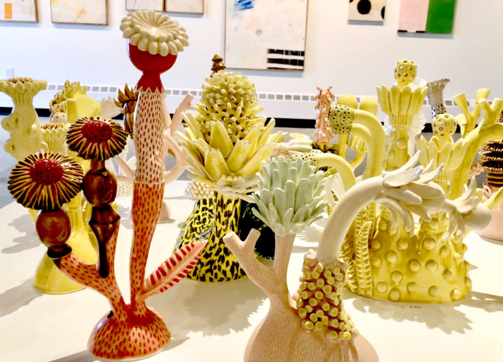 "Megan Bogonovich ceramics in ""Neon Wilderness"" at Kelley Stelling Contemporary, March 2019. (Courtesy Kelley Stelling Contemporary)"