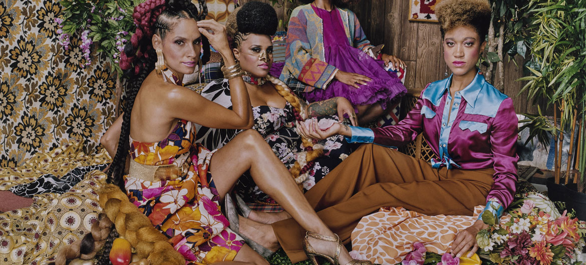 "Mickalene Thomas, ""Racquel with Les Trois Femmes,"" 2018. Chromogenic print. (© Mickalene Thomas, Courtesy of the artist and Yancey Richardson. Wadsworth Atheneum Museum of Art.)"