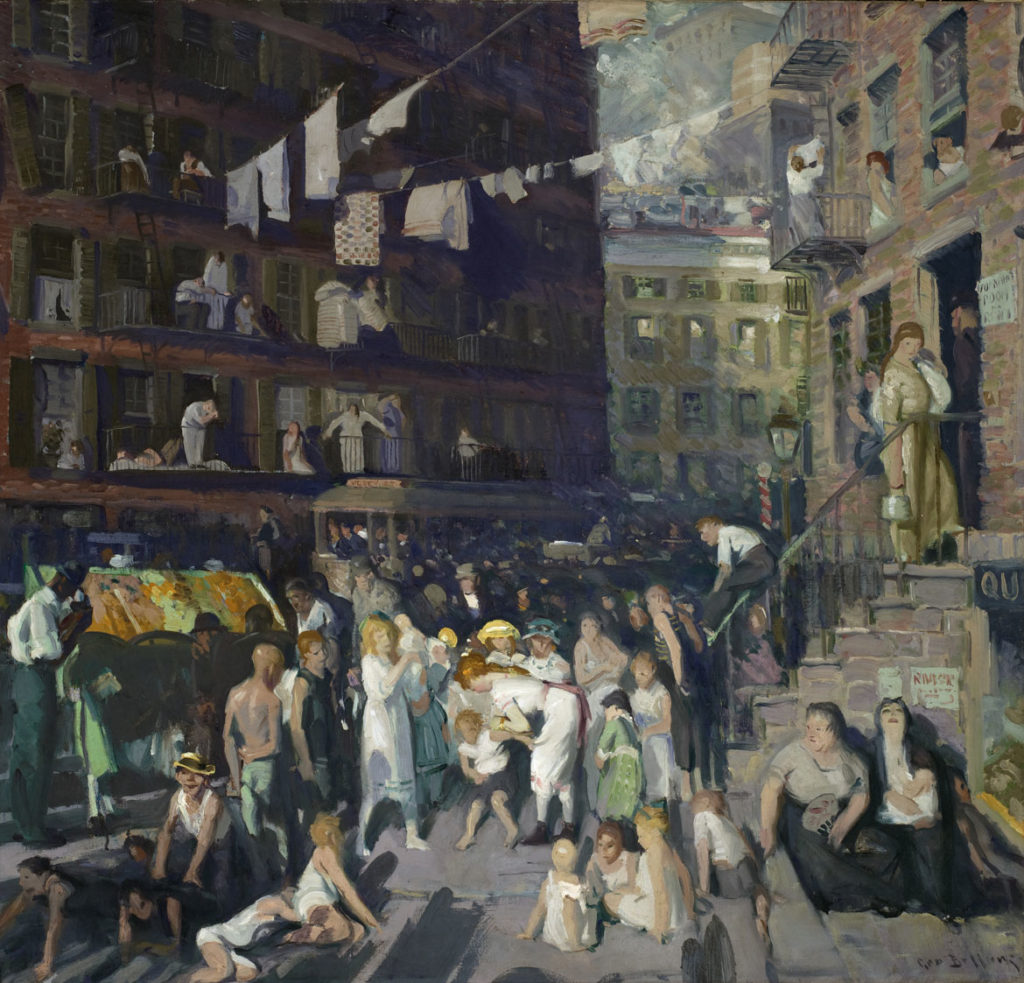 """George Wesley Bellows, """"Cliff Dwellers,"""" 1913. Oil on canvas. (Courtesy Peabody Essex Museum)"""