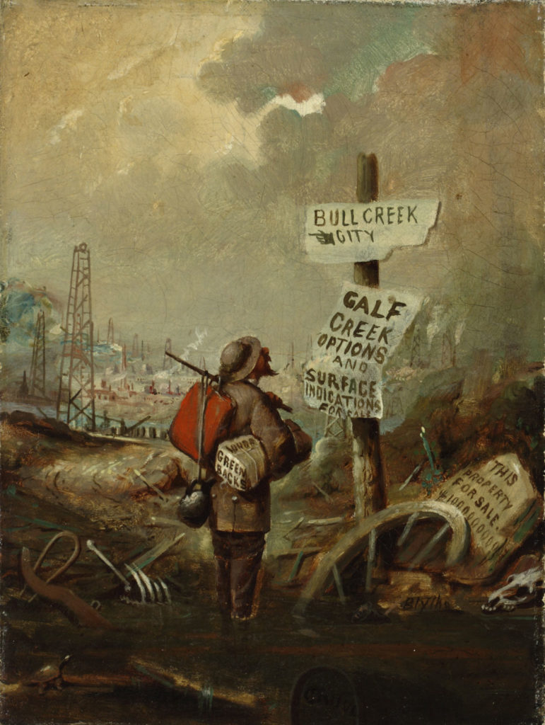 "David Gilmour Blythe, ""Prospecting/Bullcreek City,"" ca. 1861–63. Oil on canvas. (Courtesy Peabody Essex Museum)"