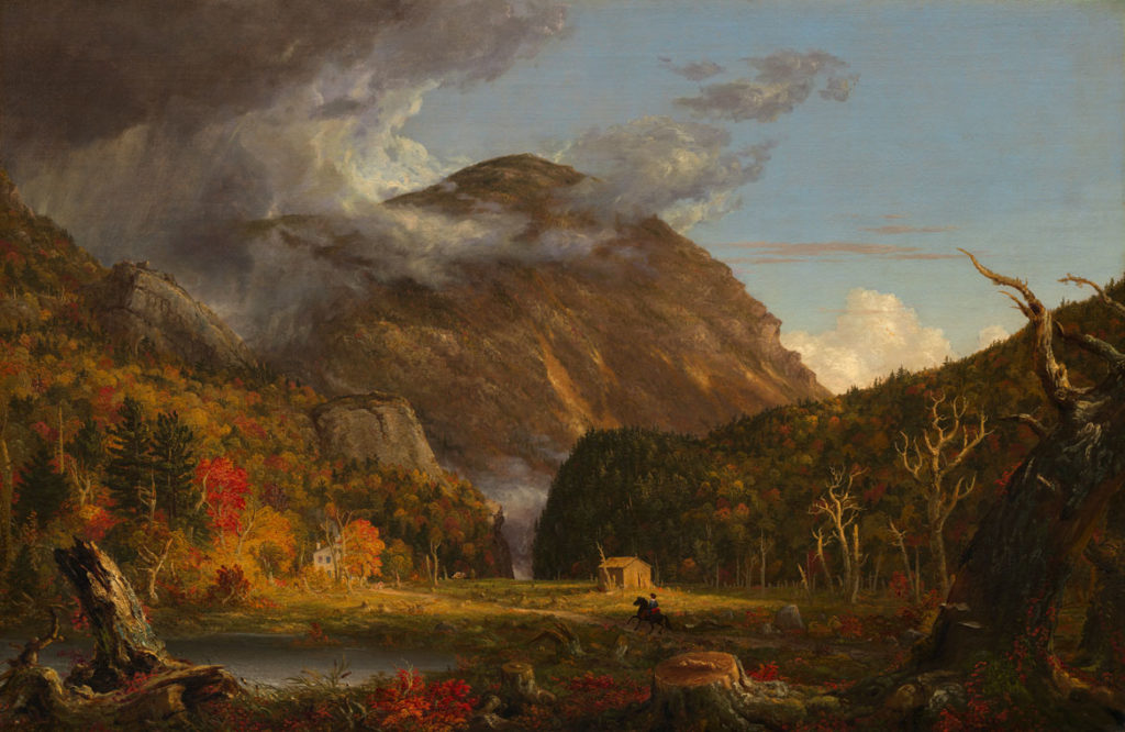 """Thomas Cole, """"A View of the Mountain Pass Called the Notch of the White Mountains (C rawford Notch),"""" 1839. Oil on canvas. (Courtesy Peabody Essex Museum)"""