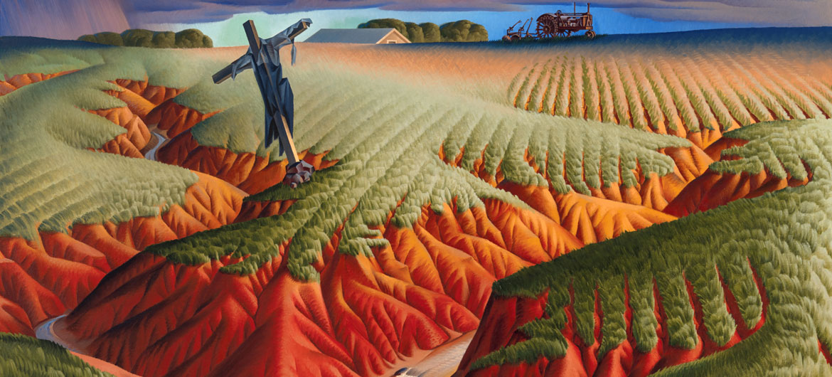 "Alexandre Hogue, ""Crucified Land"", 1939. Oil on canvas. (Courtesy Peabody Essex Museum)"