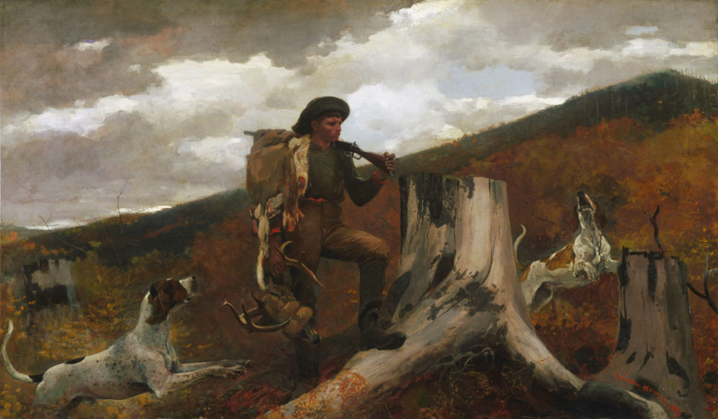 """Winslow Homer, """"A Huntsman and Dogs,"""" 1891. Oil on canvas. (Courtesy Peabody Essex Museum)"""