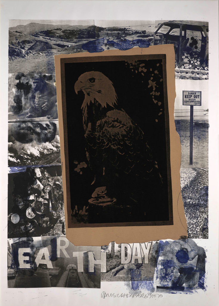 """Robert Rauschenberg, """"Earth Day,"""" 1970. Color lithograph with collage. (Courtesy Peabody Essex Museum)"""