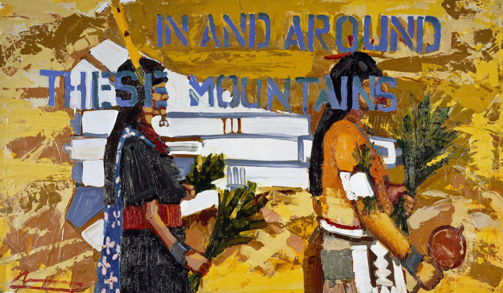 """Mateo Romero, """"In and Around These Mountains,"""" 1999. Oil, paper, canvas. (Courtesy Peabody Essex Museum)"""