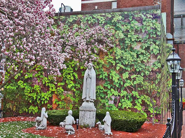 Nate Swain's photo mural at St. Leonard's Peace Garden on Hanover Street in Boston's North End. (Courtesy)