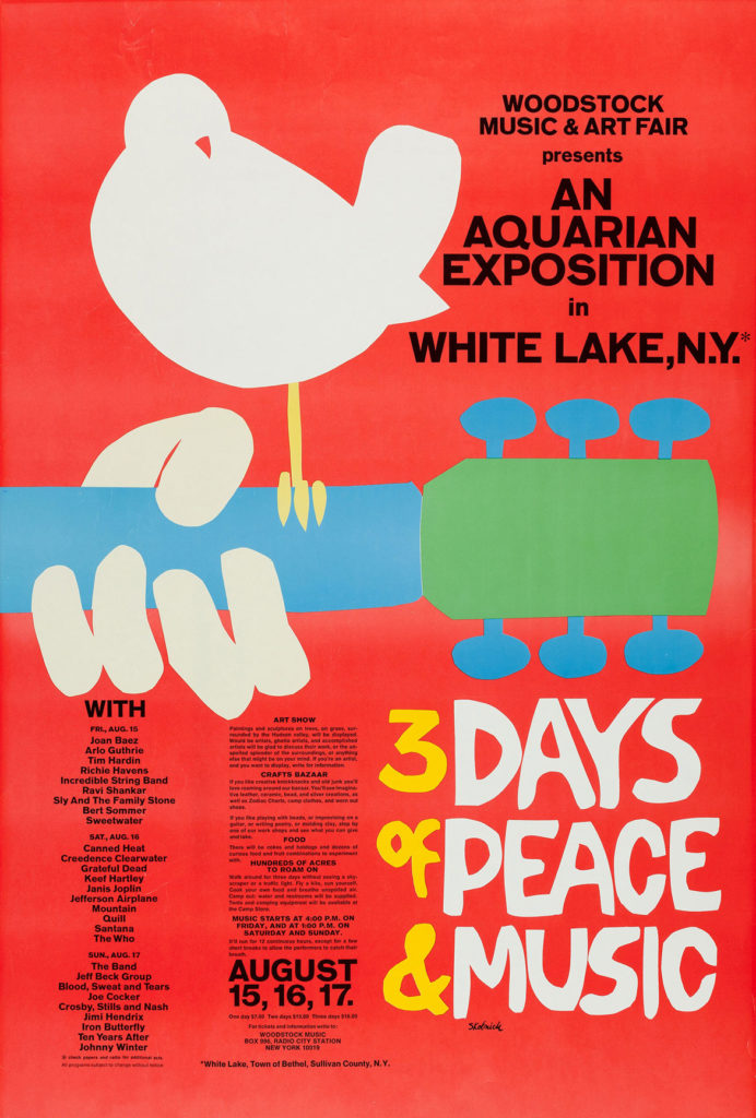 Arnold Skolnick, concert poster for the Woodstock festival, August 1969.