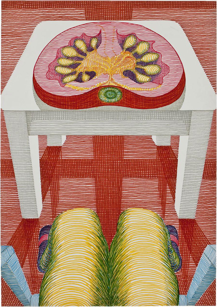 "Anna Opperman, ""Einzelwerk Karton 007,"" 1970, mixed media on cardboard. (Courtesy of the Estate Anna Oppermann / Galerie Barbara Thumm, Berlin Germany)"