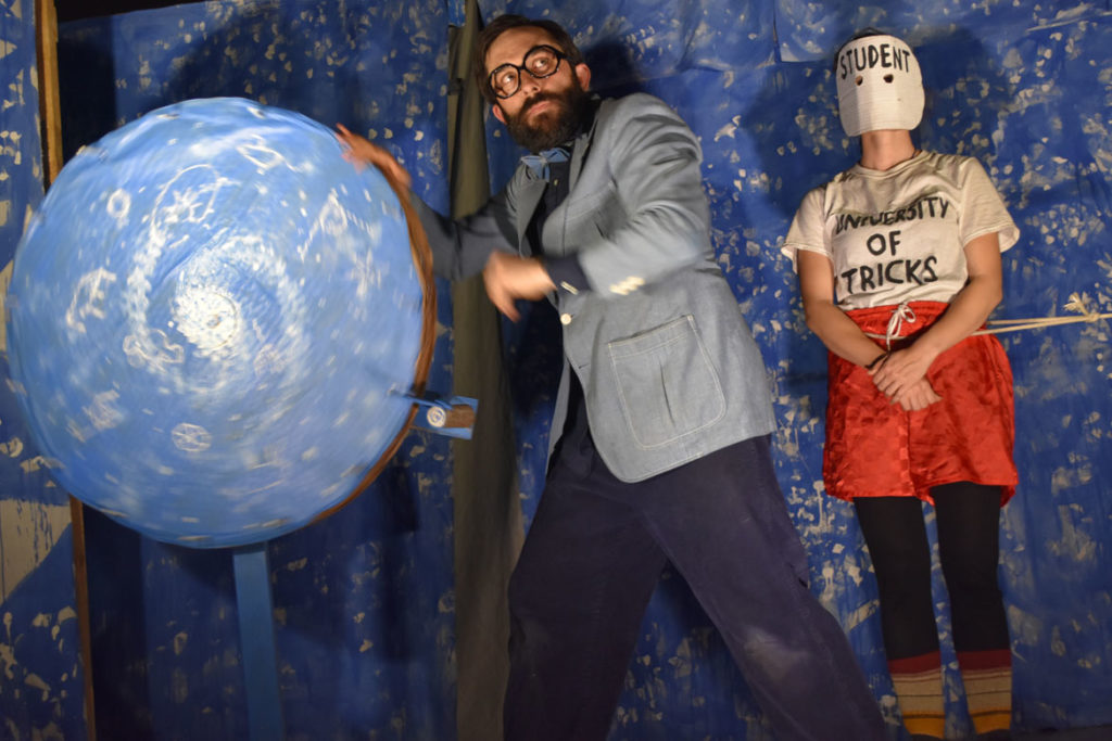 "Bread and Puppet Theater performs ""Diagonal Life: Theory and Praxis"" at Beneficent Congregational Church, Providence, May 10, 2019. (Greg Cook)"