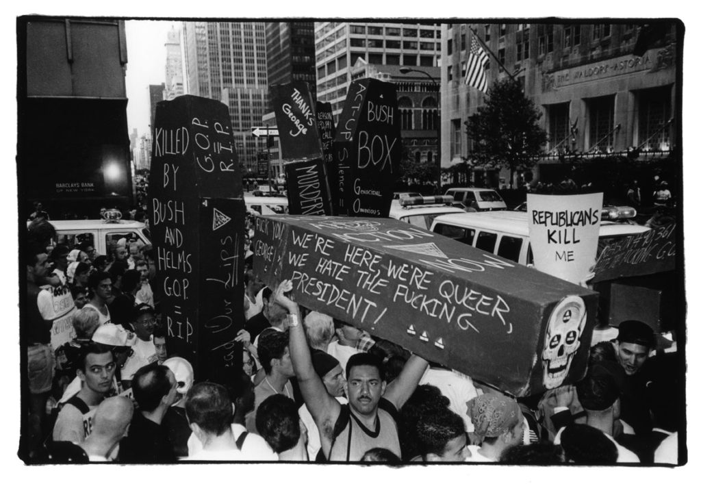 "Dona Ann McAdams, ""ACT UP at the Waldorf Astoria, NYC,"" 1990, silver gelatin photograph. (courtesy of the artist)"