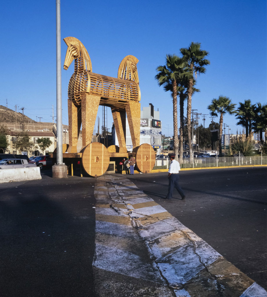 "Erre (Marcos Ramirez), ""Toy-an Horse,"" 1997. (Courtesy Mass MoCA)"