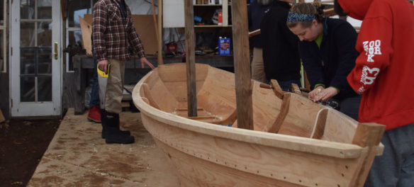 Constructing an Essex clamming skiff at the Essex Historical Society and Shipbuilding Museum in Essex, April 26, 2018. (Greg Cook)