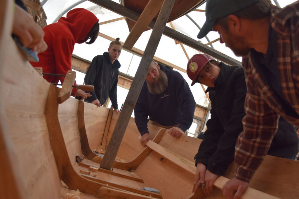 Building an Essex clamming skiff at the Essex Historical Society and Shipbuilding Museum in Essex, April 26, 2018. (Greg Cook)