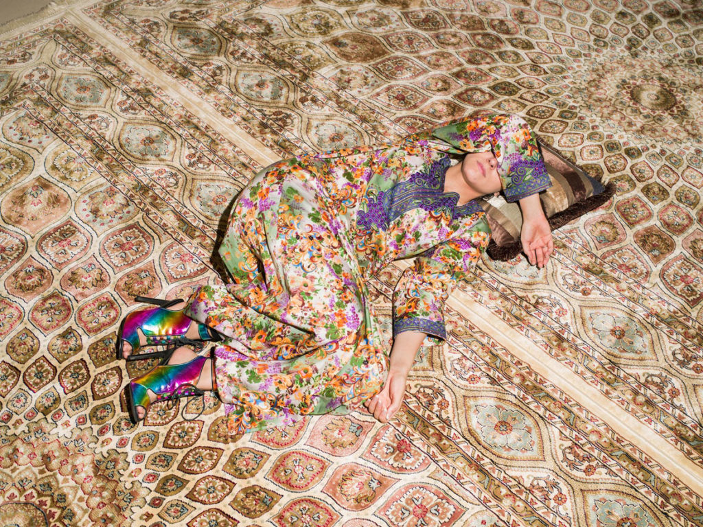 "Farah Al Qasim, ""M Napping on Carpet,"" 2016, archival inkjet print. (Courtesy the artist; Helena Anrather, New York; and The Third Line, Dubai)"