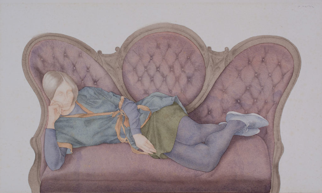 "Dewitt Hardy ""Reclining-Figure on Victorian-Couch,"" c. 1966, watercolor on paper. (Ogunquit Museum of American Art)"