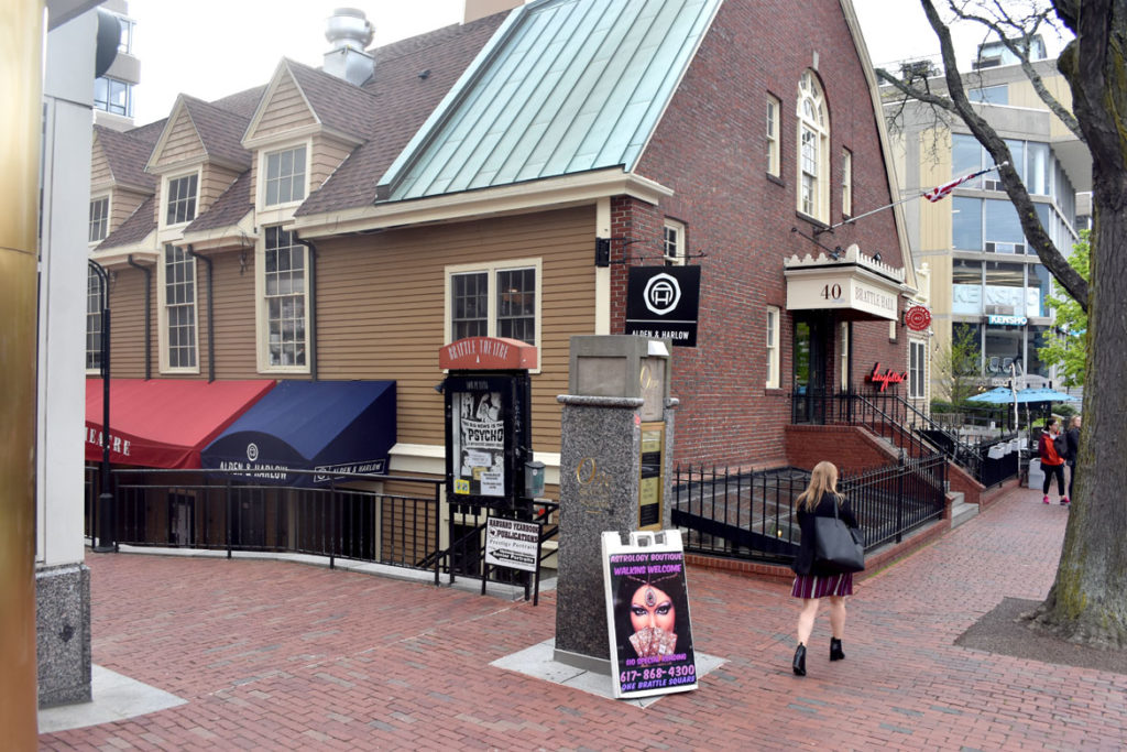 Brattle Theatre in Harvard Square, Cambridge, May 9, 2019. (Greg Cook) Cambridge, May 9, 2019. (Greg Cook)