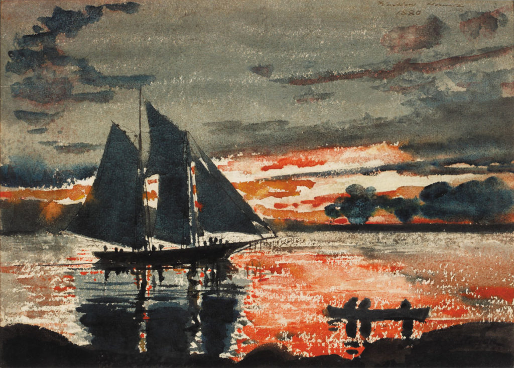 "Winslow Homer (1836-1910), ""Sunset Fires,"" 1880. Watercolor on paper. (The Westmoreland Museum of American Art, Greensburg, Pennsylvania)"