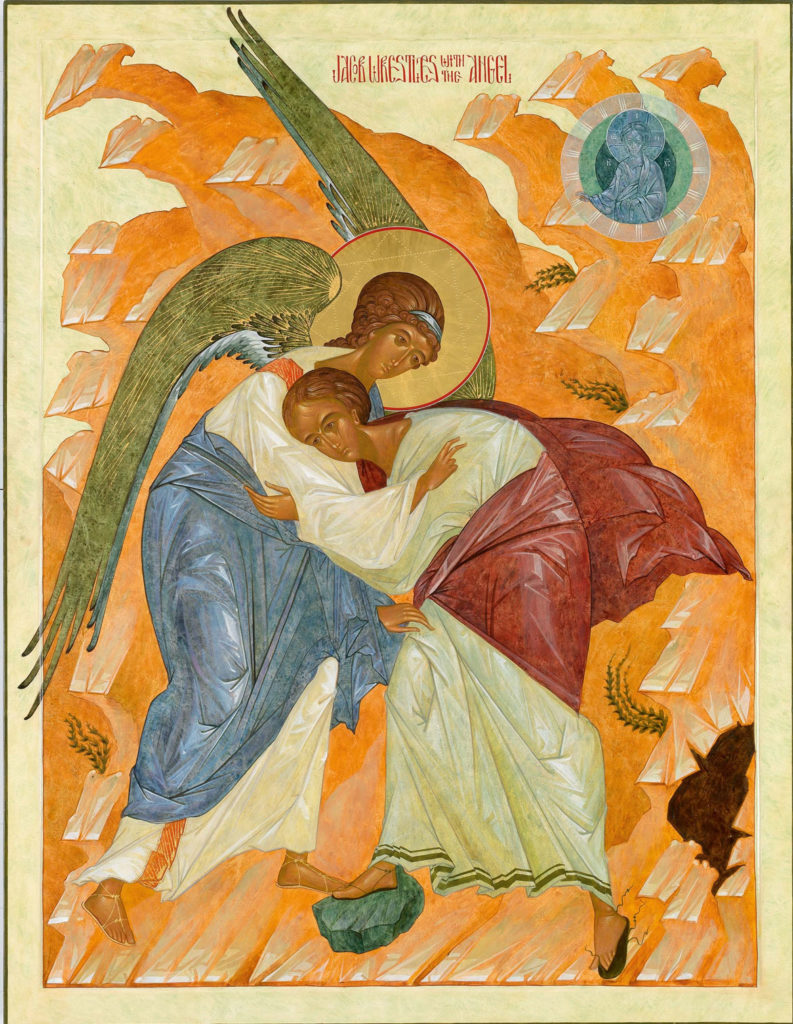 "Prosopon School, ""Wrestling with Angels."" (Courtesy Museum of Russian Icons)"