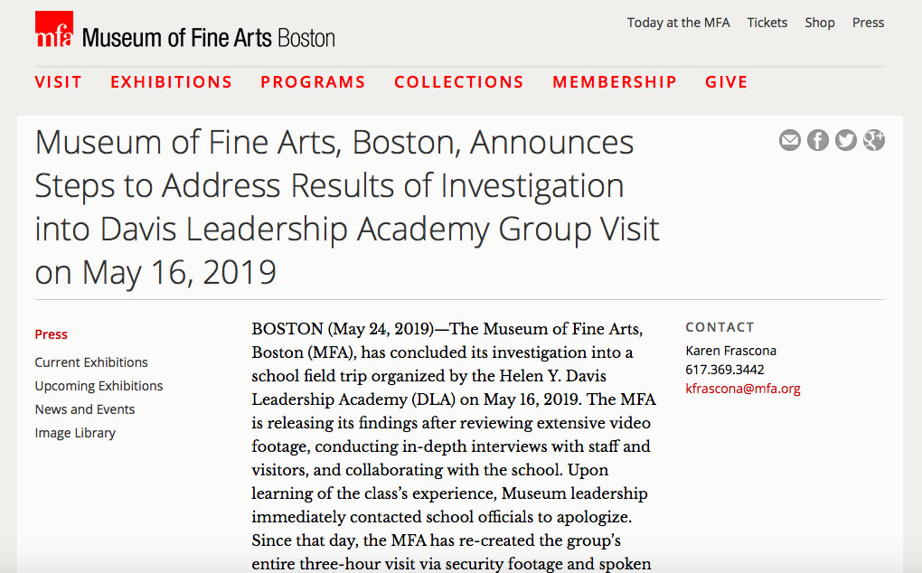 """Museum of Fine Arts, Boston, Announces Steps to Address Results of Investigation into Davis Leadership Academy Group Visit on May 16, 2019."""