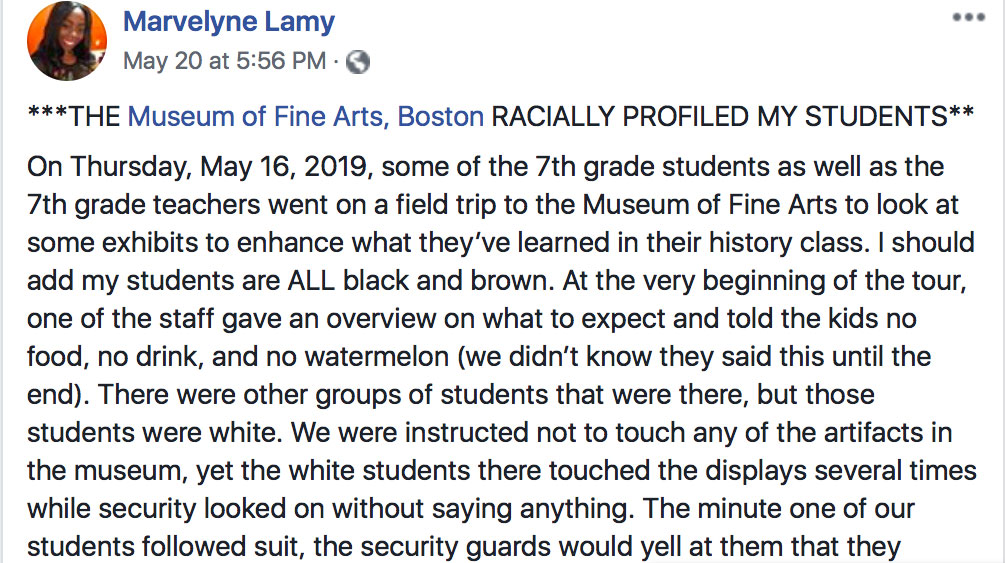 """Marvelyne Lamy's May 20 Facebook post: """"The Museum of Fine Arts, Boston, racially profiled my students."""""""