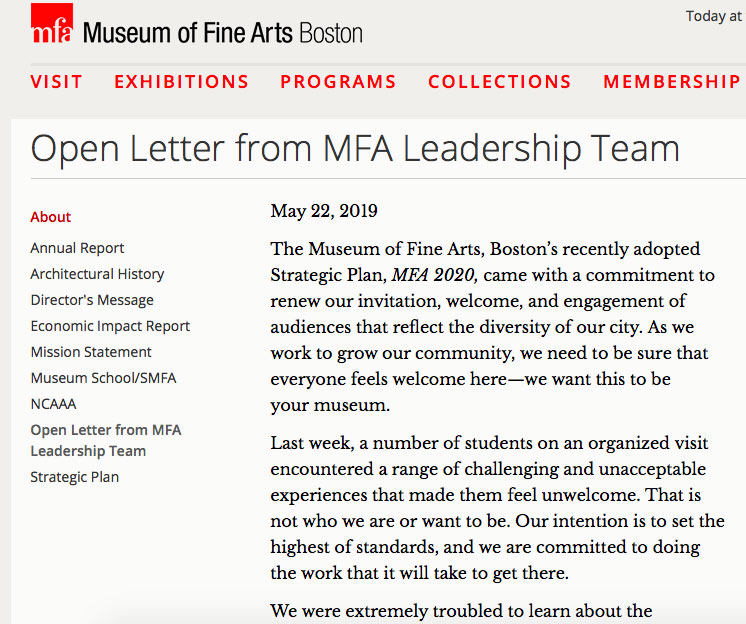 """""""Open Letter from MFA Leadership,"""" May 22, 2019."""