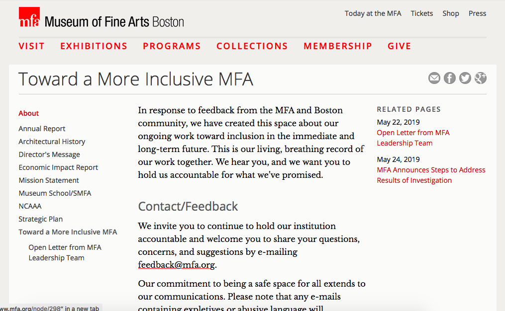 "Museum of Fine Arts' ""Toward A More Inclusive MFA"" webpage, May 31, 2019."
