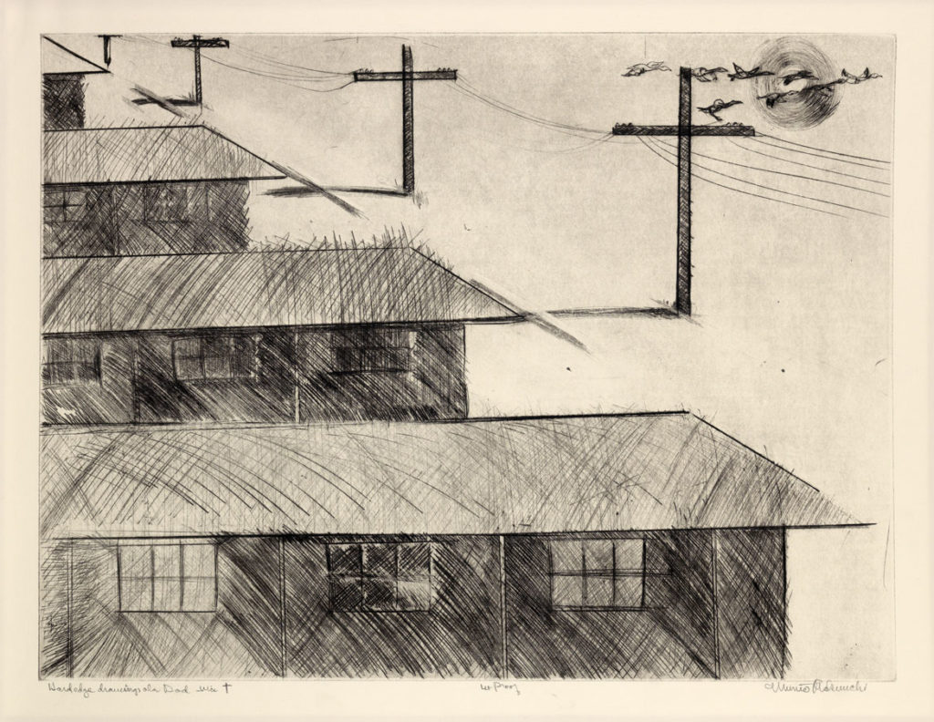 "Munro Makuuchi, ""Hardedge drawings ala Dad via +,"" c. 1986–89, drypoint, scraping, and burnishing on warm white Arches paper. (Smith College Museum of Art)"