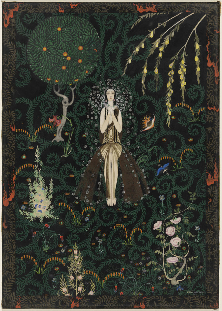 "Kay Nielsen, ""Flowers and Flames,"" 1921, opaque watercolor and metallic paint, over graphite. (Courtesy, Museum of Fine Arts, Boston)"