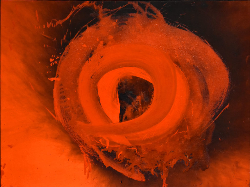 """Otto Piene, """"Cyclops,"""" 1993/1994, oil and fire on canvas."""