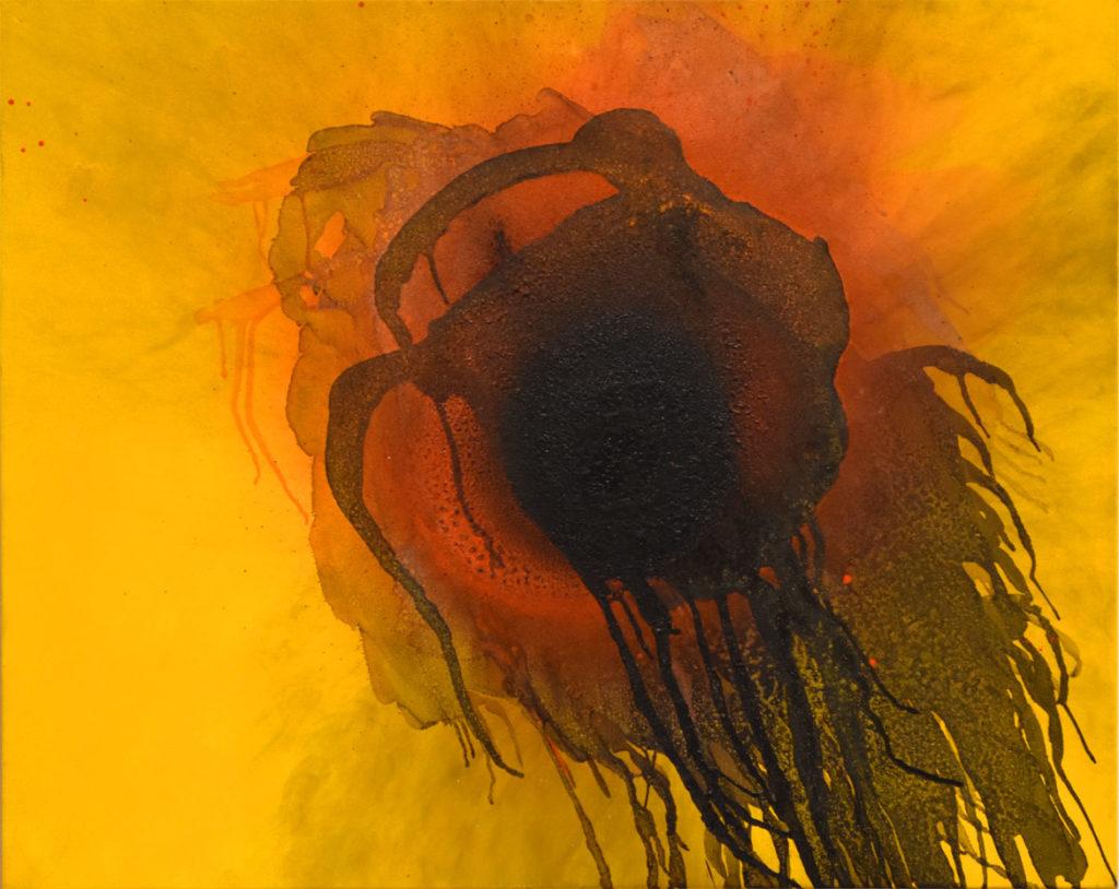 """Otto Piene, """"Plusquamperfect,"""" 2003, oil and fire on canvas."""