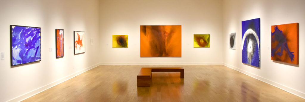 """""""Fire Paintings"""" in """"Fire and Light: Otto Piene in Groton, 1983–2014"""" at the Fitchburg Art Museum, 2019. (Greg Cook)"""