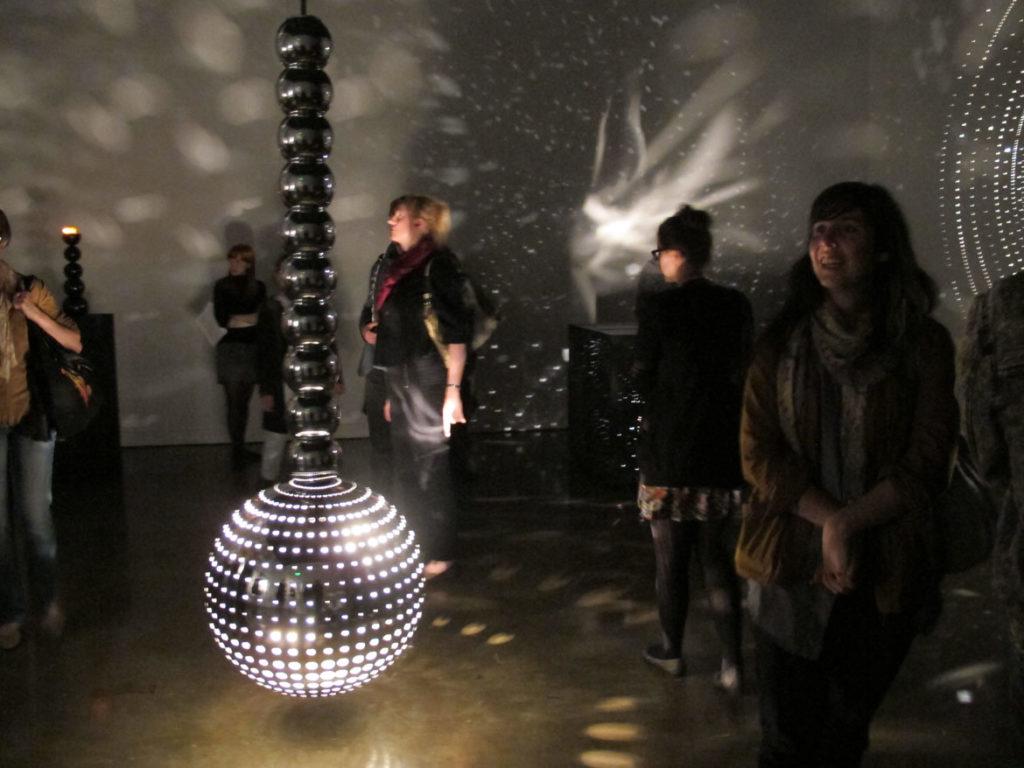 "Exhibition opening reception for ""Otto Piene: Lichtballett"" at MIT List Visual Arts Center, Cambridge, MA, 2011. (Photo: Mark Linga)"