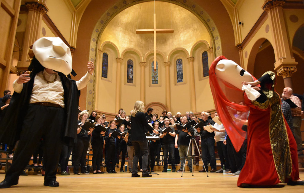"Rehearsal for ""The Unicorn, The Gorgon and The Manticore"" and ""A Medieval Bestiary"" performed by Metropolitan Chorale and Puppet Showplace Theater at First Church, Cambridge, May 3, 2019. (Greg Cook)"