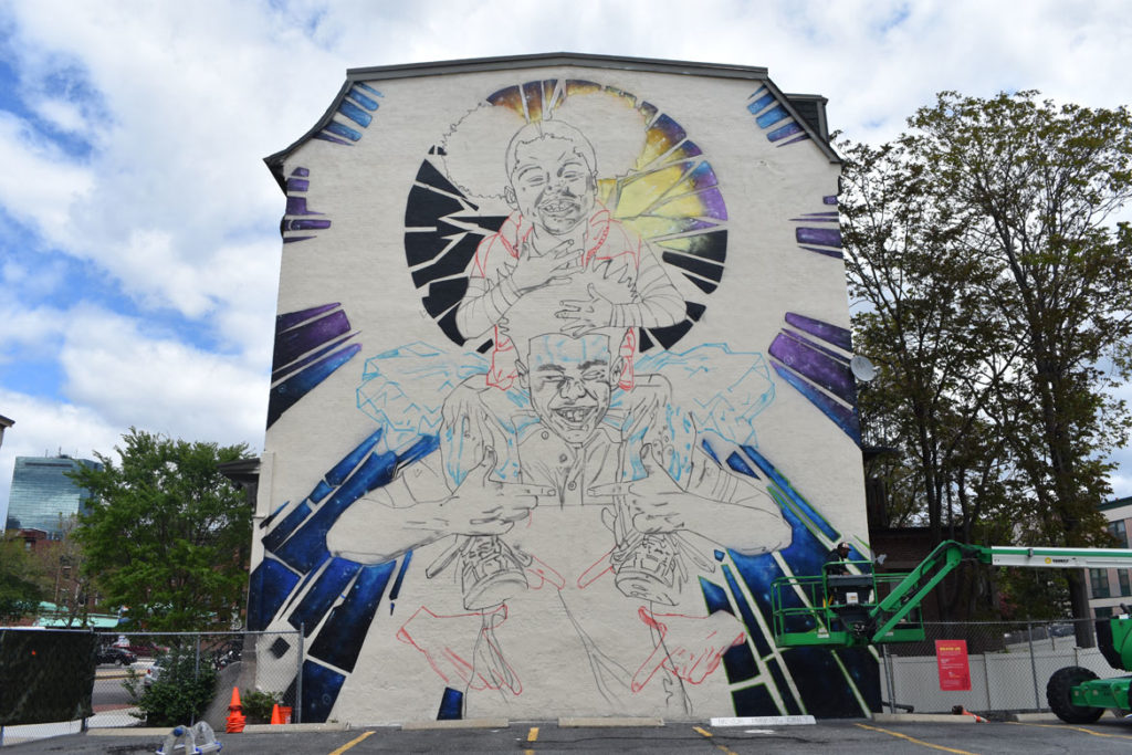 "Rob ""ProBlak"" Gibbs's mural ""Breathe Life 3"" at 808 Tremont St., Boston, May 24, 2019. (Greg Cook)"