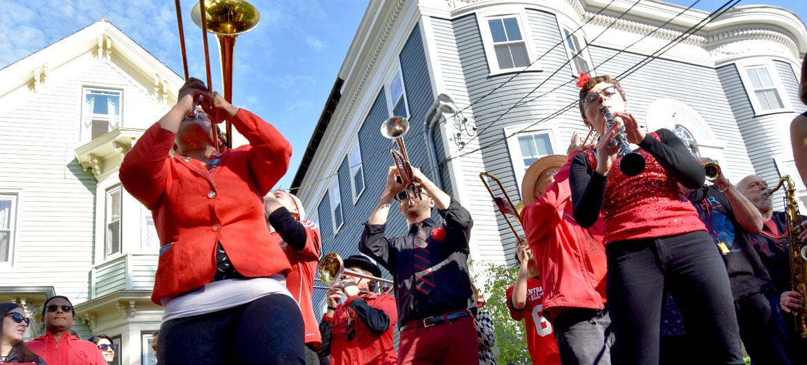 Second Line Social Aid & Pleasure Society Brass Band performs at Somerville's Quincy Street Open Space as part of the annual PorchFest, May 13, 2018. (Greg Cook)