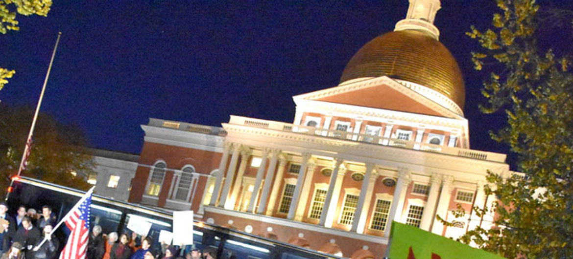 Massachusetts State House in Boson, Nov. 8, 2018. (Greg Cook)