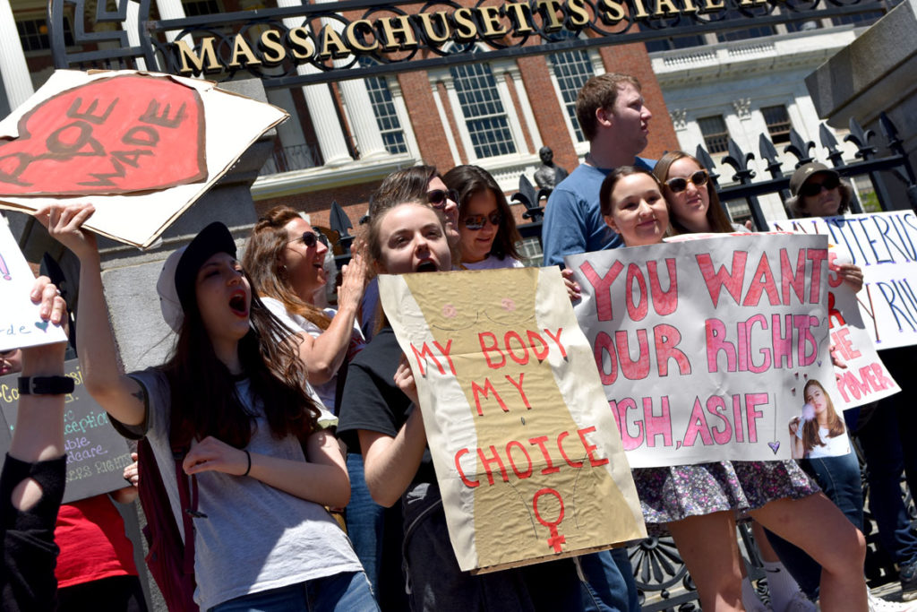 """Stop The Abortion Ban"" rally at Massachusetts State House, May 21, 2019. (Greg Cook)"