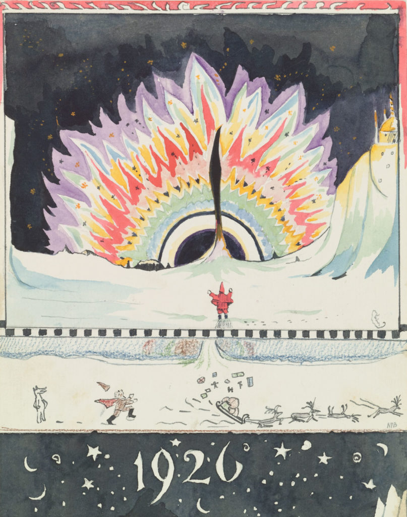 "J. R. R. Tolkien ""Drawing by Father Christmas of the Aurora Borealis,"" December 1926, watercolor, black ink, colored pencil, pencil. (© The Tolkien Estate Limited)"