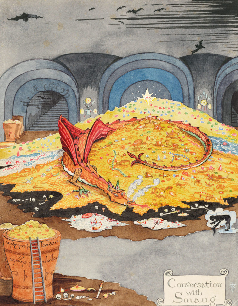 "J. R. R. Tolkien ""Conversation with Smaug,"" July 1937, black and colored ink, watercolor, white body color, pencil. (© The Tolkien Estate Limited)"