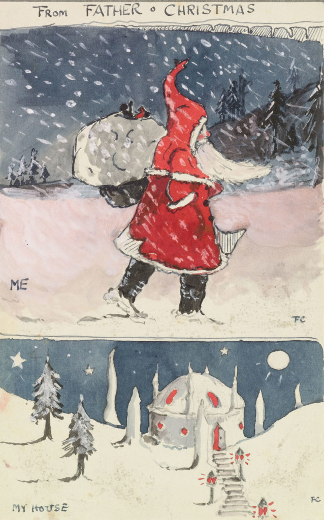 "J. R. R. Tolkien ""Father Christmas drawing of 'Me' and 'My House,'"" 1920, watercolor, white body color, silver powder, black ink. (© The Tolkien Estate Ltd)"
