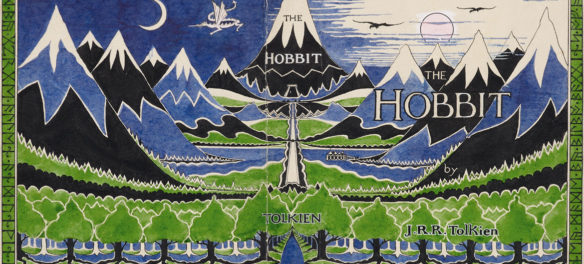 "J. R. R. Tolkien, Dust jacket design for ""The Hobbit,"" April 1937, pencil, black ink, watercolor, gouache. (© The Tolkien Estate Limited)"