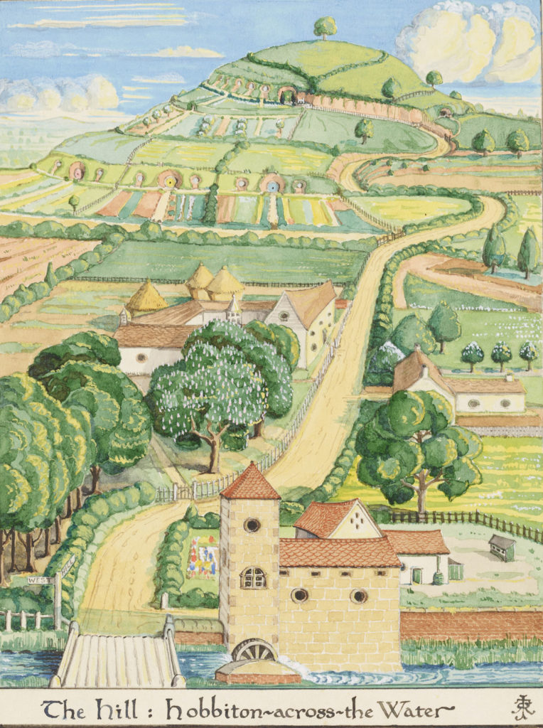 "J. R. R. Tolkien ""The Hill: Hobbiton-across- the Water,"" August 1937, watercolor, white body color, black ink. (© The Tolkien Estate Limited)"