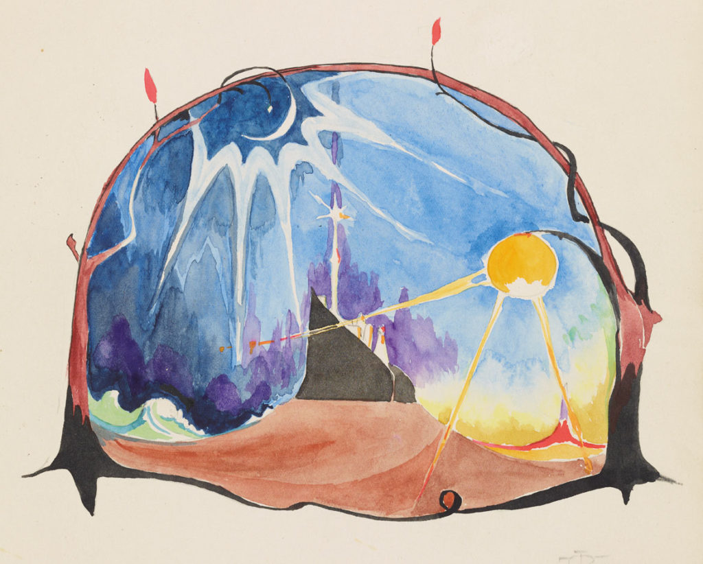 "J. R. R. Tolkien ""The Shores of Faery,"" 10 May 1915, watercolor, black ink, pencil. (© The Tolkien Trust)"