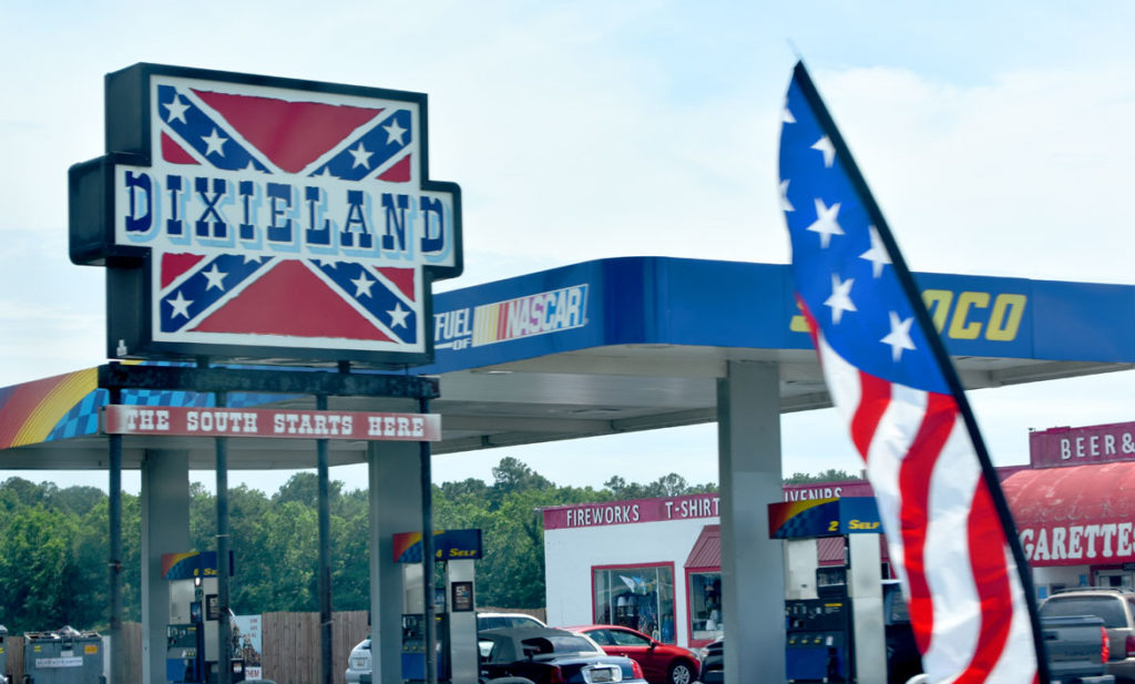 Gas station at Virginia border along Route 13 south, June 18, 2019. (Greg Cook)