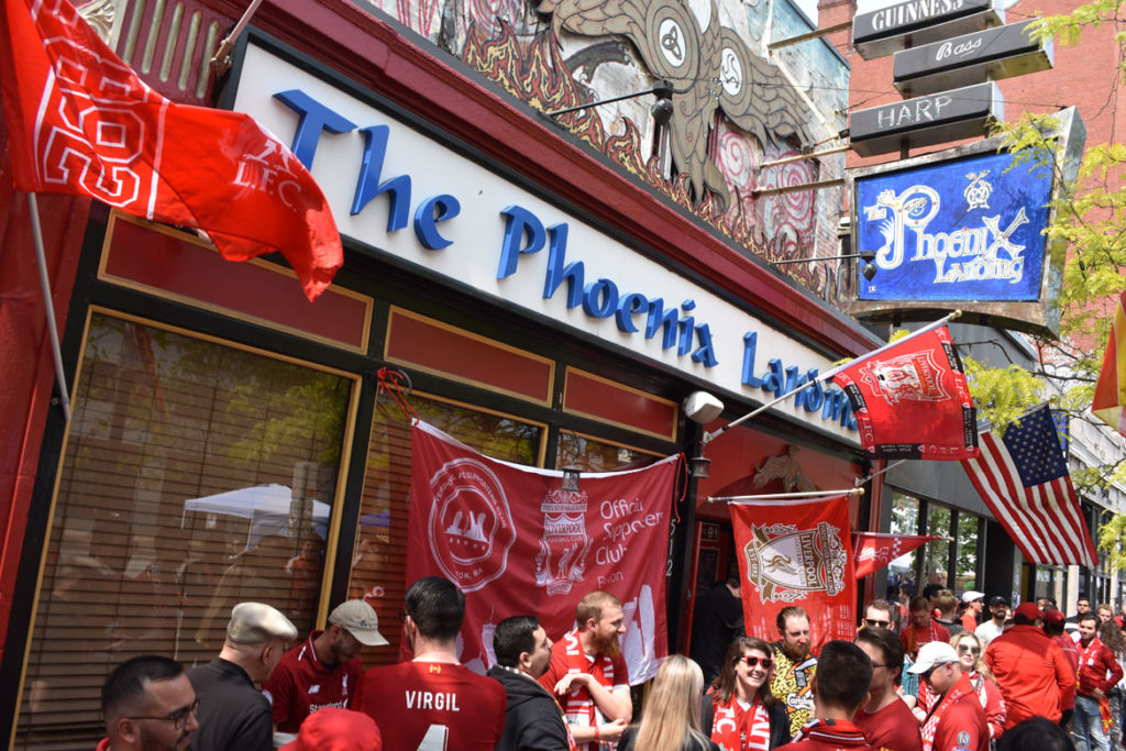 Fans crowded into the Phoenix Landing in Cambridge to watch Liverpool compete in the Champions League Final, June 1, 2019. (Greg Cook)
