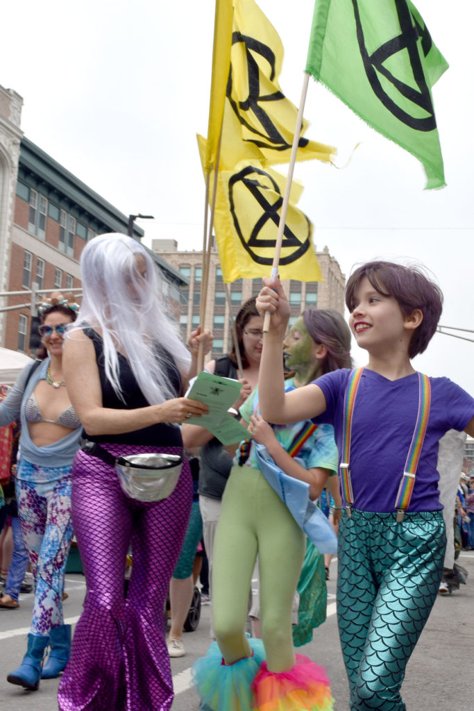 Extinction Rebellion in the Mermaid Promenade at Cambridge Arts River Festival in Central Square, June 1, 2019. (Greg Cook)