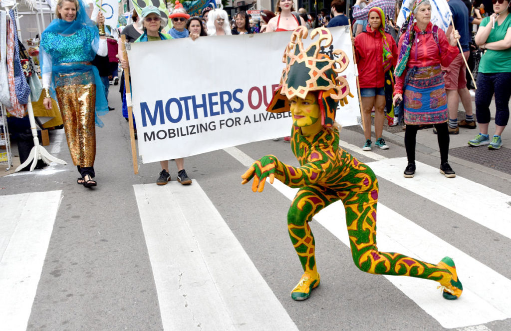 Fine Art Superheroes followed by Mothers Out Front in the Mermaid Promenade at Cambridge Arts River Festival in Central Square, June 1, 2019. (Greg Cook)