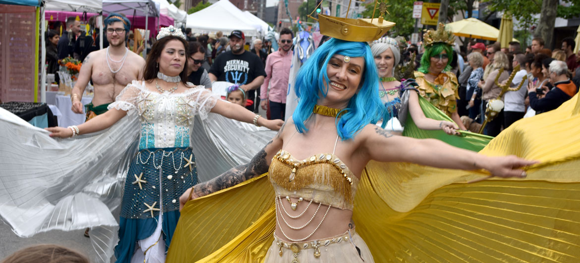 Moonrise Fae dance in the Mermaid Promenade at Cambridge Arts River Festival in Central Square, June 1, 2019. (Greg Cook)