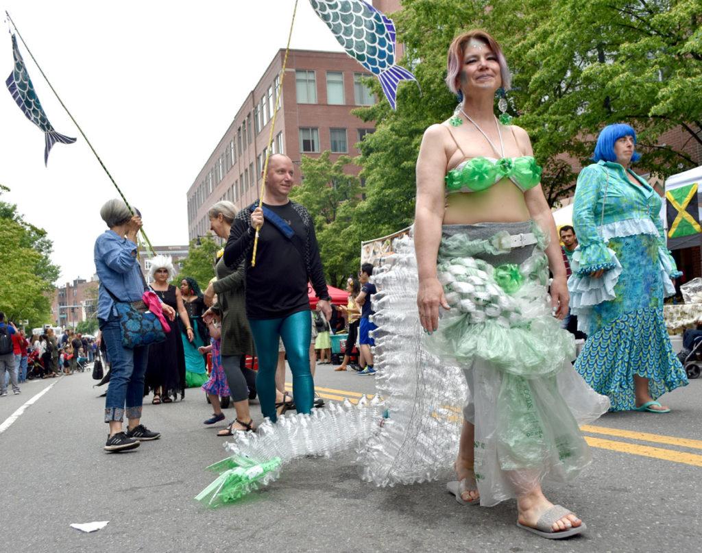 Mermaid Promenade at Cambridge Arts River Festival in Central Square, June 1, 2019. (Greg Cook)