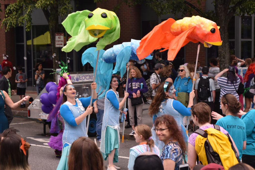 The Swishy Fishies, created by Honey Goodenough and Puppet Showplace Theater, in the Mermaid Promenade at Cambridge Arts River Festival in Central Square, June 1, 2019. (Greg Cook)